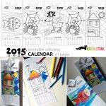Modern art coloring calendar – 2015