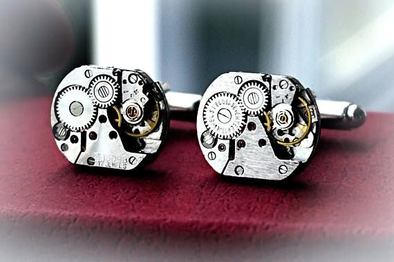 Steampunk BDSM jewelry cufflinks mens accsessories robot skeleton soviet vintage birthday anniversary gift for him industrial brutal techno