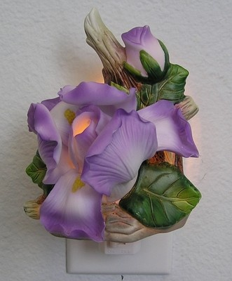 Porcelain Purple Lavender Iris Flower Plug In Night Light Ideas