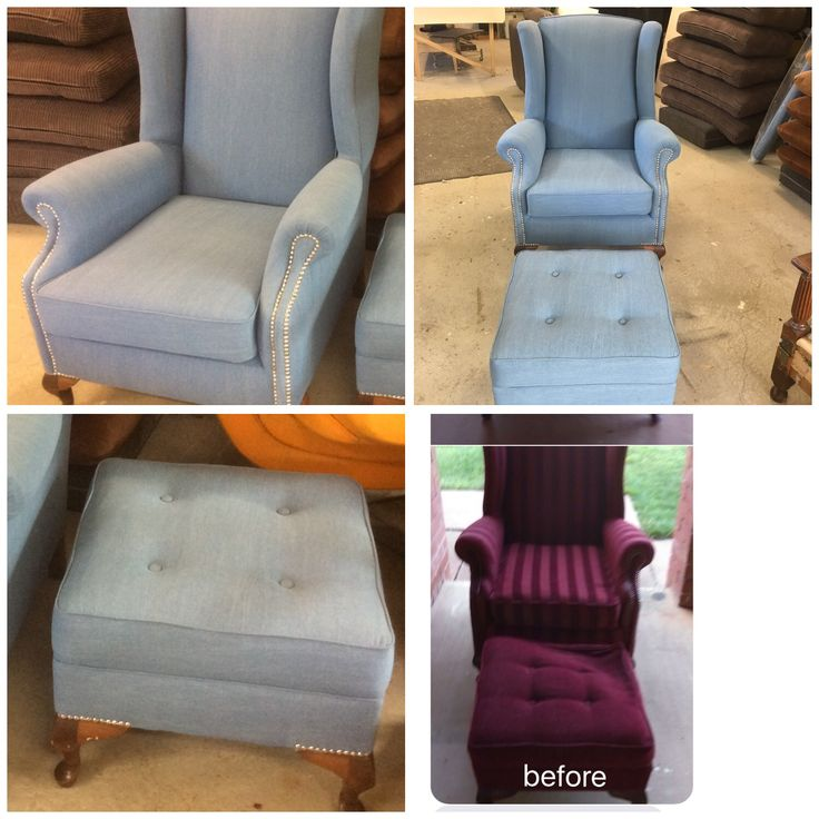 Reupholstered this old Parker arm chair in Denim Fabric , finished off with chrome stud detail ...