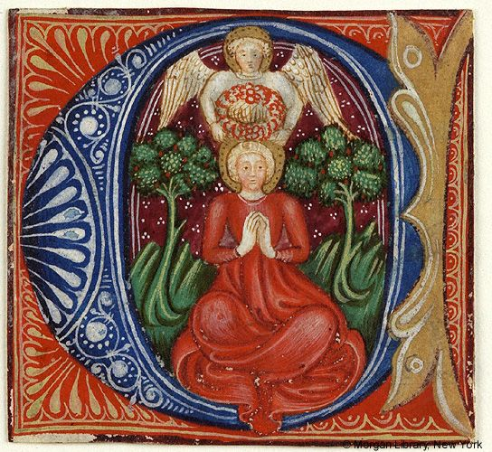Angel crowning a saint with rosesImages from Medieval and Renaissance Manuscripts - The Morgan Library & Museum