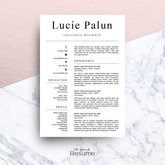 Resume Template (A4, Cover Letter U0026 References) For Microsoft Word |  Modern, Simple And Design CV | Instant Download | Model 10 : Lucie  Download Resume Templates