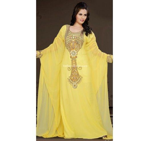 Yellow Faux Georgette Trendy Arabic #Kaftan