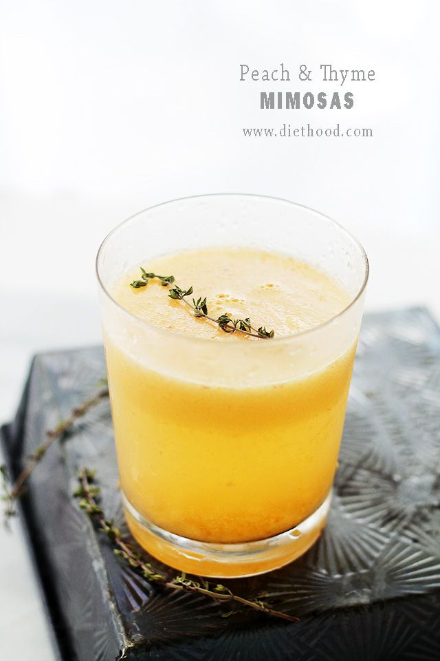 Peach and Thyme Mimosas | www.diethood.com | Thyme-flavored syrup, juicy peaches and a bottle of Bubbly! Cheers! | #recipe #mimosas #drinks