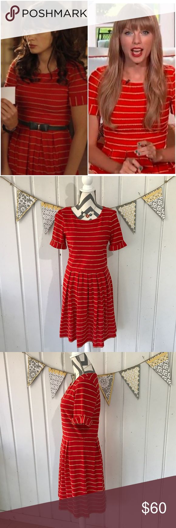 "Anthropologie Scalloped Stripes Dress by Bordeaux Adorable red dress with a pleated skirt and scalloped tan stripes. This is the dress that Taylor Swift wore when announcing her ""Red"" album and Zooey Deschanel wore this dress in the show ""New Girl."" I think that this dress runs a size small. Tag says Large, but fits more like a medium. Measures 37"" long and 17"" armpit to armpit. Excellent gently used condition with very slight, unnoticeable, pilling under the arms. Only worn and hand washed…"