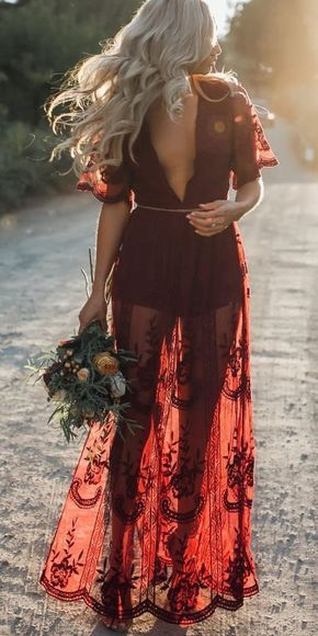 6589ddc76105 Pretty Sexy Lace Solid Color Short Sleeve Deep V Neck Side Split Maxi Dress