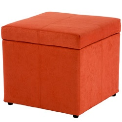 orange storage ottoman... a couple would be great as an alternative to a coffee table with aqua settees