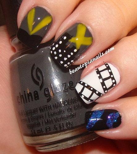 film strip nail art