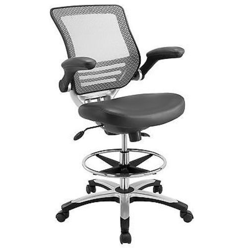 Breathable mesh back Sponge seat covered with black leatherette Seat tilt with tension control Adjustable Seat Height Chrome foot ring Flip-up padded arms Dual-Wheel Casters Overall Product Dimensions