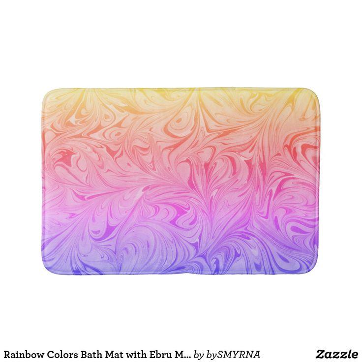 Rainbow Colors Bath Mat with Ebru Marbling Art D#1