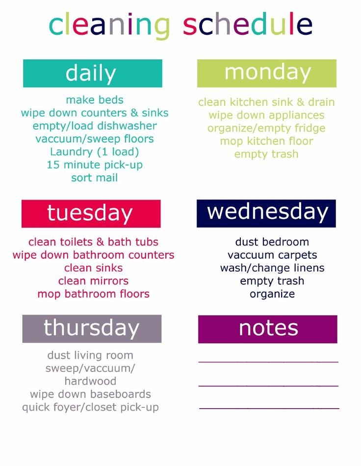 Printable Cleaning Schedule   Scribd