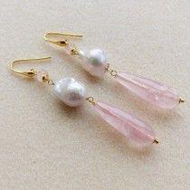Orecchini argento 925 placcato oro perle barocche e gocce quarzo rosa