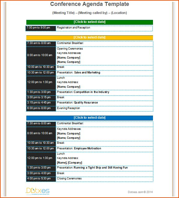 Conference Meeting Agenda Template With Color Format To Improve Your  Meeting In Professional Way  Professional Agenda Templates