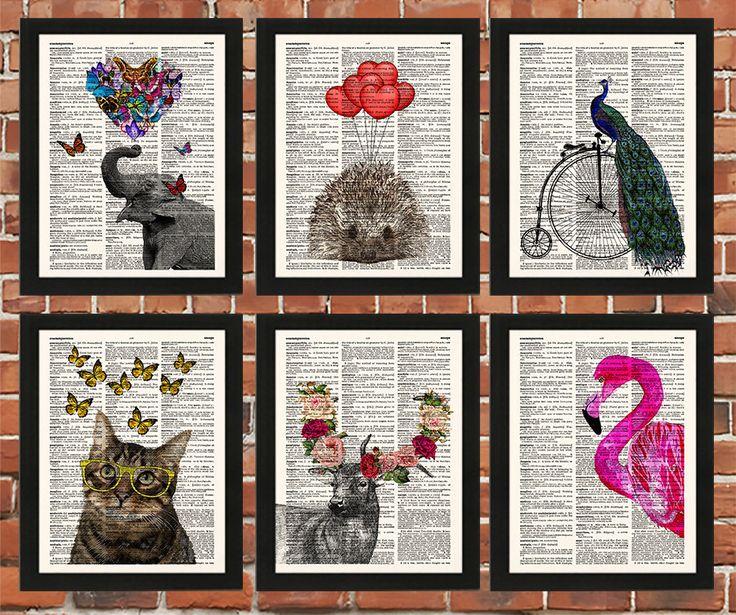Animal Art Prints, Funny Animal Wall Art, Nursery Set Gift, Children Book Prints by demeraki on Etsy