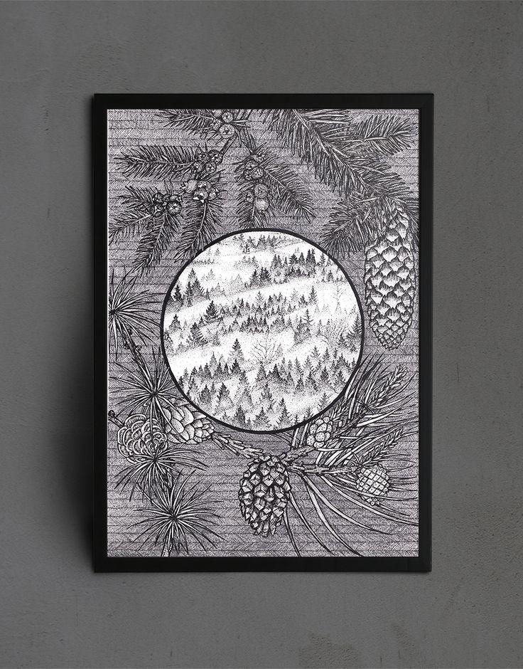 Forest in Fog - Illustration by Julia Karl  #illustration #art #ink #nature #botanical #black #white #wall #wallart #homedecor #ideas #decor #modern #office #scandinavian #livingroom #hallway #trees #outdoor #wanderlust #christmas #walldecor #geometrical #forest #elegant
