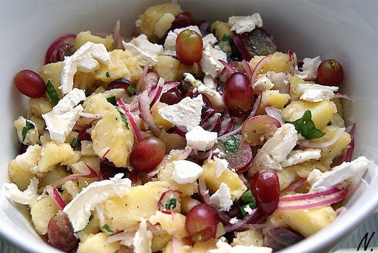 Kartoffelsalat mit Ziegenkäse und Weintrauben - senf  und vanille