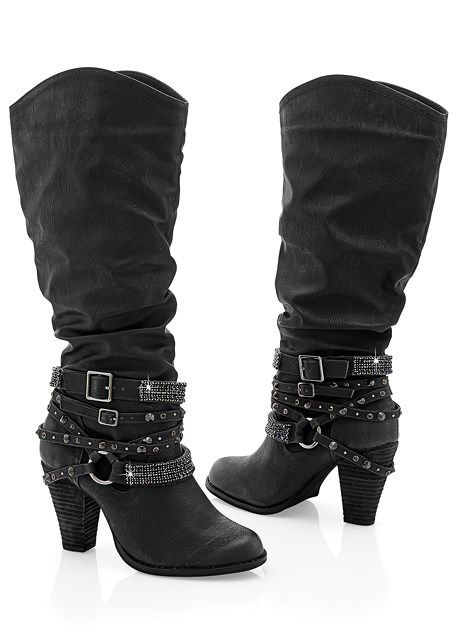 STUDDED BUCKLE BOOT, RUFFLE DETAIL JACKET, COLOR SKINNY JEANS