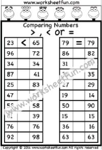 Comparing Numbers –  1 Worksheet