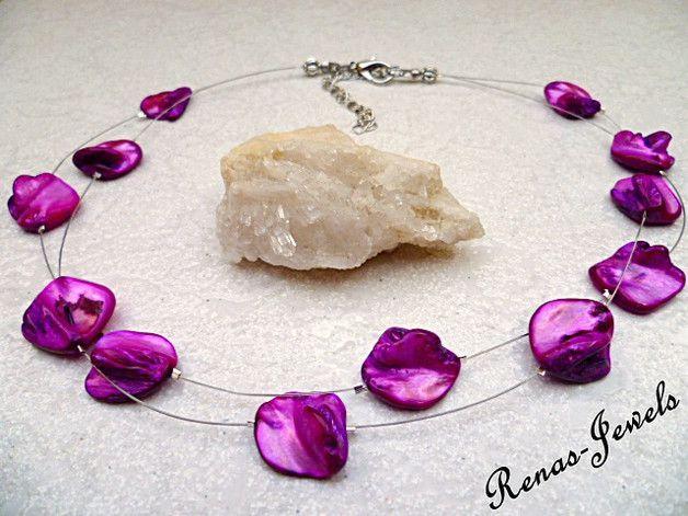 Perlmuttketten -  PERLMUTT KETTE kurz pink zweireihig - ein Designerstück von Renas-Jewels bei DaWanda