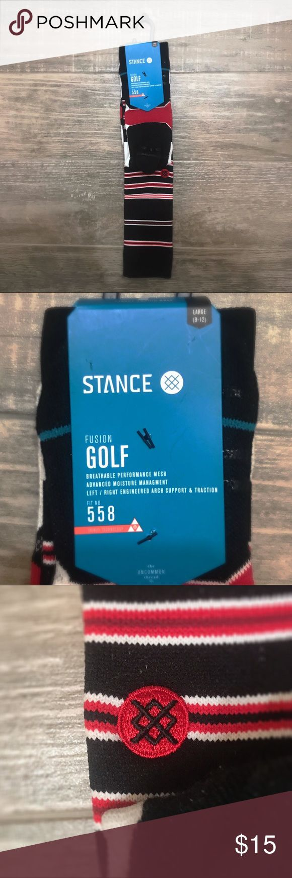 Stance Fusion Golf Socks Men's Size Large Brand new with tags, crew height, medium cushion, active secure support. Red and black. Stance Underwear & Socks Athletic Socks