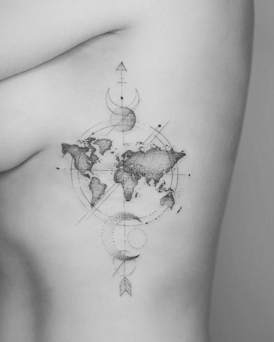 Weltkarte Tattoo-Ideen für diejenigen, die gerne reisen Travel