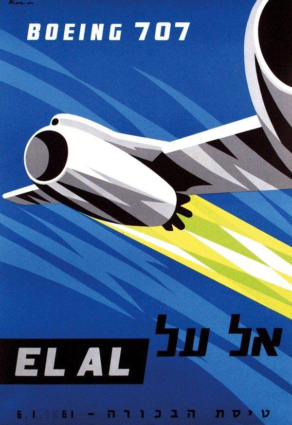 EL AL Boeing 707 Vintage Airlines Poster ~ Paul Kor, 1960  ~ Repinned via Masafumi Harada