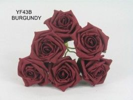 YF43B - QUALITY COTTAGE ROSE IN BURGANDY COLOURFAST FOAM ...Visit our website to see our extensive range of colours.