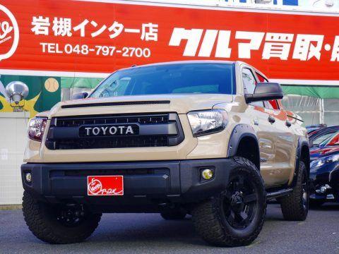 タンドラ 4WD クルーマックス SR5ベージュ新車×TRDプロ仕様カスタム&LINE-X塗装バンパー TOYOTA TUNDA TRD TRO Style