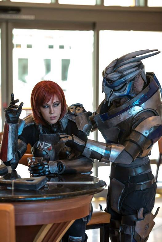 Shepard and Garrus cosplay. Touch my drink and my rocket wont miss. AMAZING