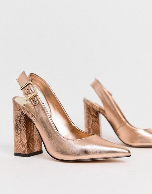 890b876864fac River Island | River Island heeled shoes with sling back in rose gold
