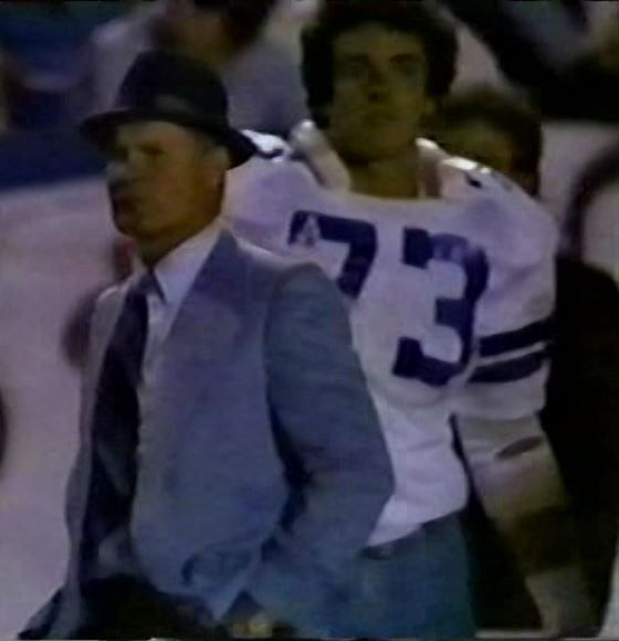 "TOM LANDRY and STEVEN WRIGHT (73) on ""Monday Night Football""--September 21, 1981"