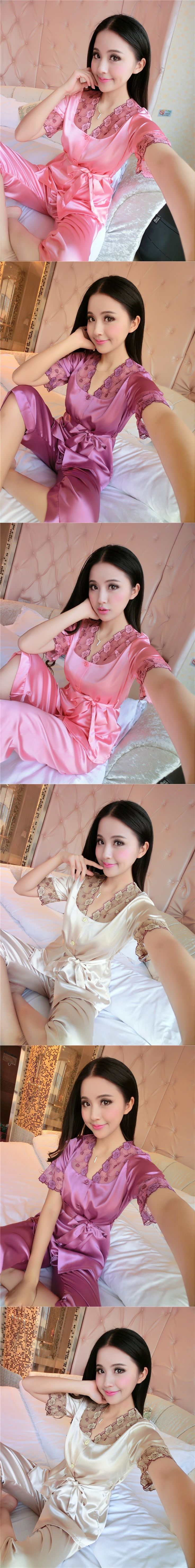 Women Sexy Silk Satin Pajama Set Short Sleeve Pyjama Femme Embroidery Pijama Set V-neck Sleepwear Plus Size Nightwear For Summer