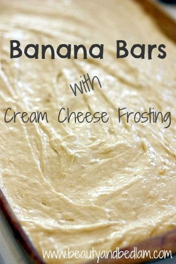 SO easy, my ten year old make these. :) Yummy and Moist Banana Bar Recipe with easy cream cheese frosting.  I ALWAYS have overripe bananas so I LOVE this recipe!!