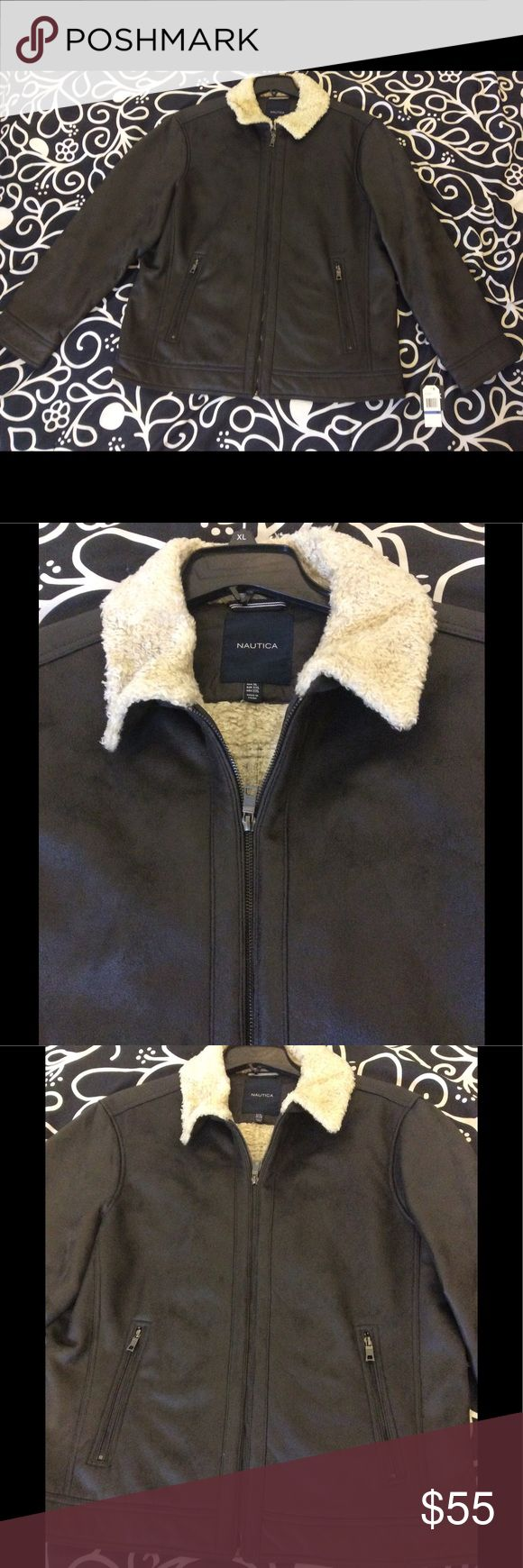 Nautica Men's Faux Leather Jacket w/ Faux Fur This faux leather jacket(100% polyester) looks amazing and is cruelty free. Adding a masculine sophistication to the male form, this jacket is bound to turn heads and garner compliments. Nautica Jackets & Coats