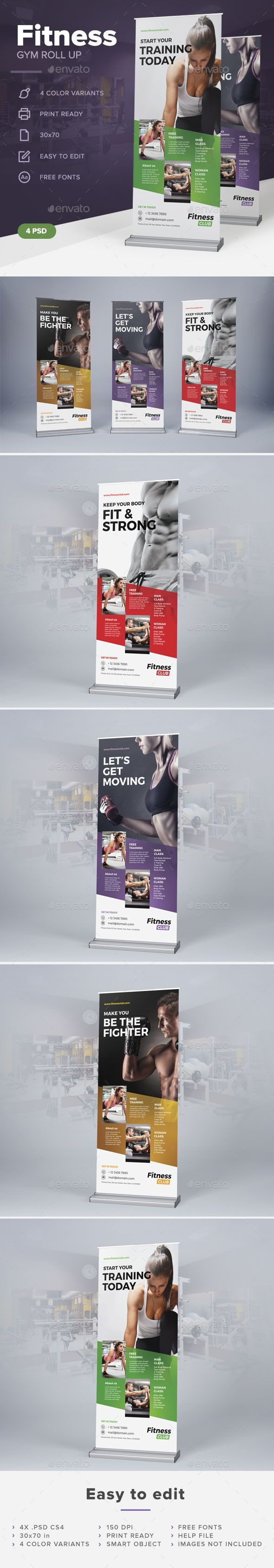 Fitness Gym Roll Up Template #design Download: http://graphicriver.net/item/fitness-gym-roll-up/12676521?ref=ksioks