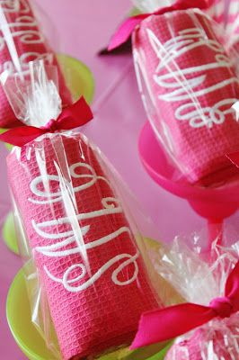 up close of the kitchen towels i monogrammed for all the guests for the monograms couple showerthe guestbridal