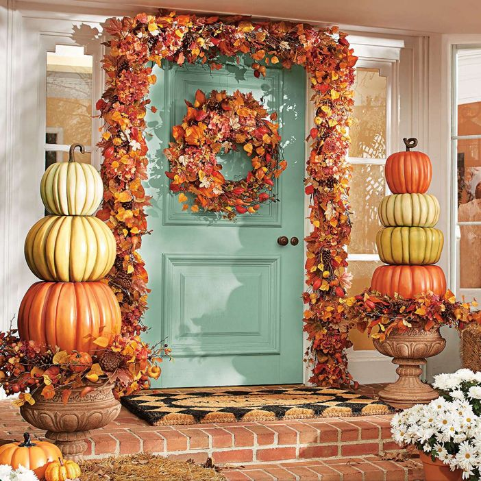 boo boutique pumpkin topiary outdoor fall harvest halloween decor give them a warm fall welcome with our everlasting all weather pumpkin topiaries - Halloween Decorations Pumpkins