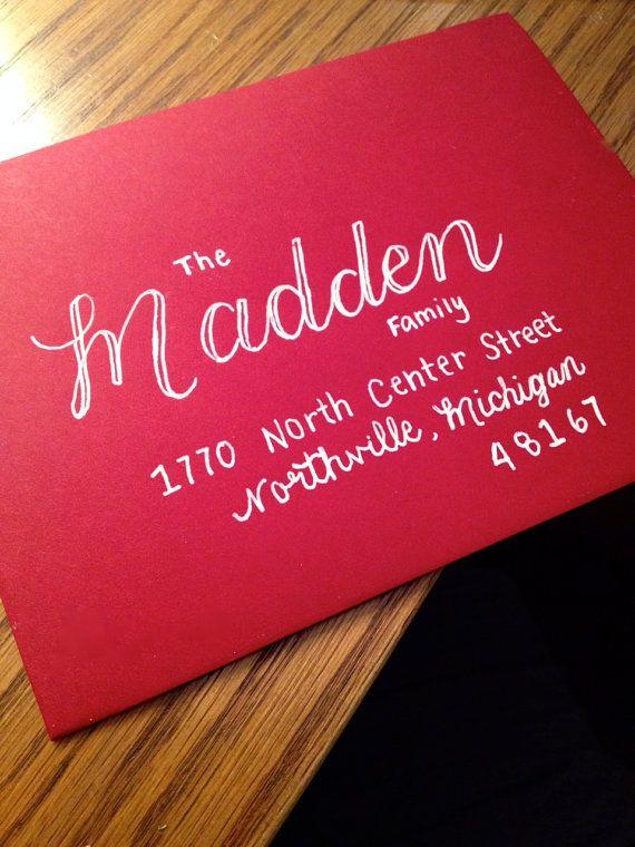 Hand Lettered Addressed Envelopes Madden Style -- WHITE PEN SO CUTE