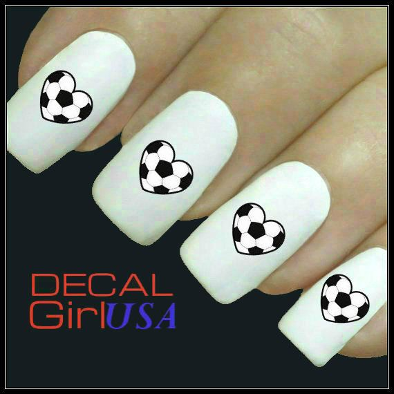 Soccer Nail Art Decal 32 Water Slide Nail Decals by DecalGirlUSA, $3.85
