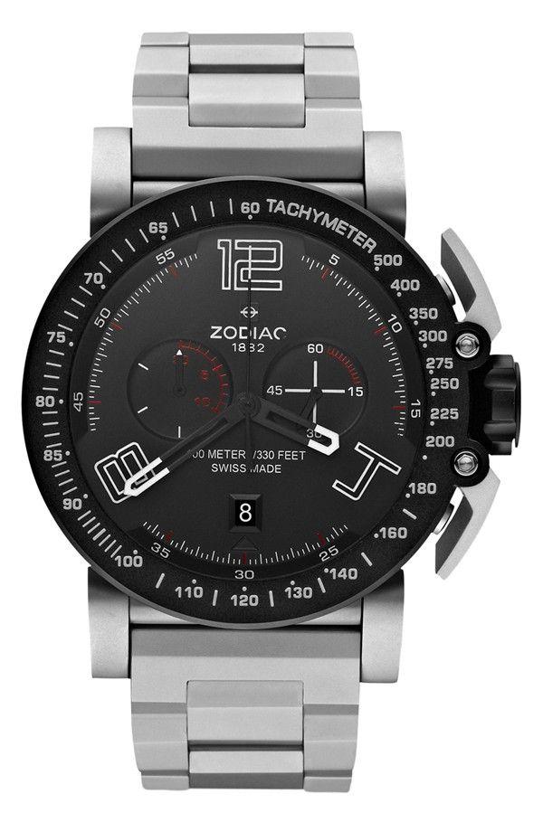Zodiac 'Racer' Chronograph Bracelet Watch, 47mm