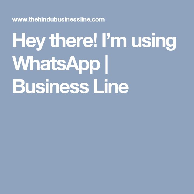Hey there! I'm using WhatsApp | Business Line