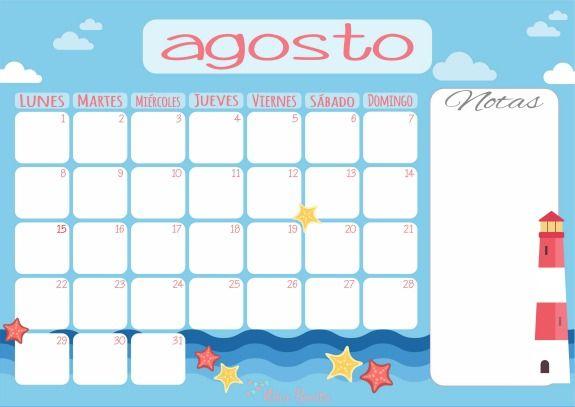 Niña Bonita: Imprimible: Calendario de Agosto de 2016