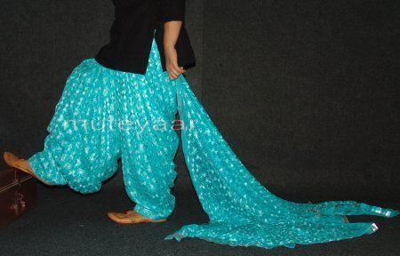PHULKARI Embroidered Patiala Salwar with matching Dupatta PHS16