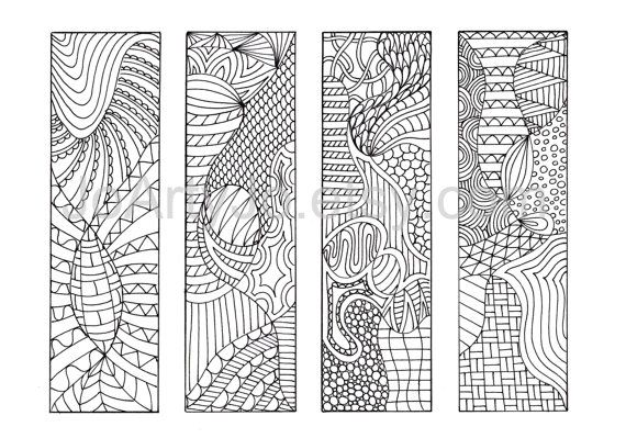 Zentangle Inspired Bookmarks Download Print and Color. by JoArtyJo
