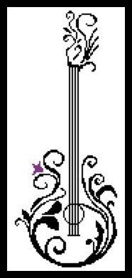 This is a modern PDF pattern of a guitar with floral motifs.  The cross stitch…