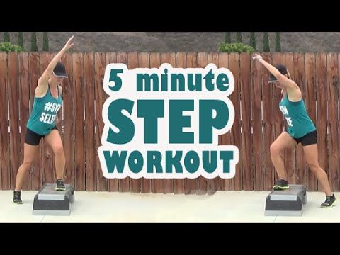 5 minute interval step workout. 45s work, 15s rest, this workout has 5 exercises so repeat as many time as you can in the time available to you