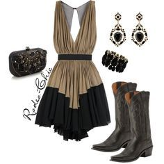 """""""A Formal Affair"""" by rodeo-chic on Polyvore Dress with cowboy boots by Lucchese @lucchese1883 , western"""