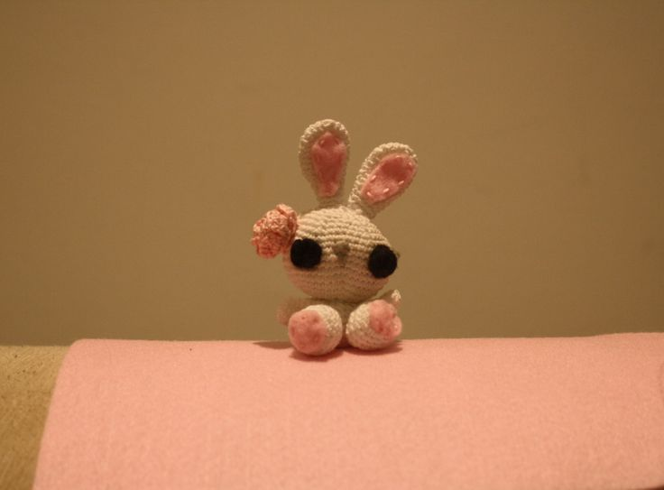 A small crochet bunny from a pattern from craftzine.com A gift for a specil little girl....