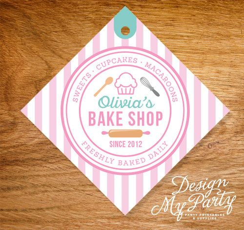 Bake Shop Thank You Lolly Bag Party Tags by DesignMyPartyShop