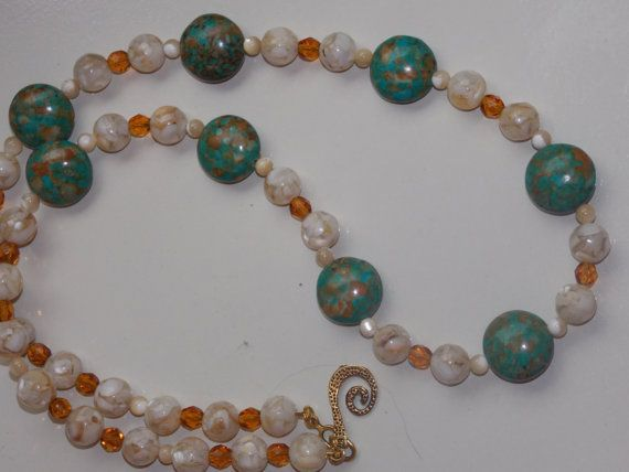 Mosaic Turquoise Mother of Pearl Necklace by EriniJewel on Etsy, $45.00